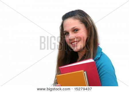 Adolescente con sus libros.