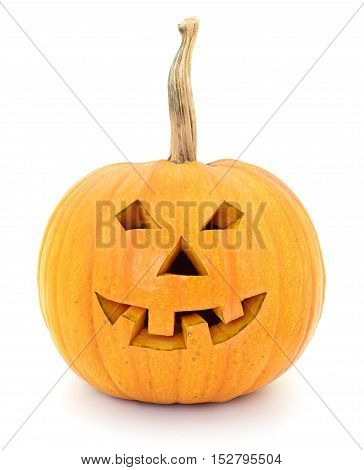 Halloween Jack Lantern Pumpkin isolated on white background.