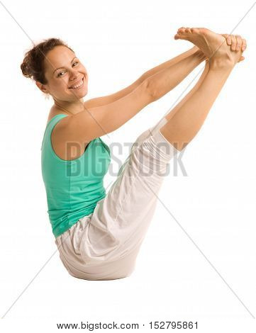 Happy young woman doing yoga pose. Isolated on white