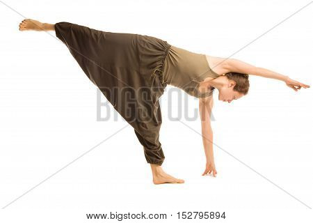 Young woman is doing complicated yoga pose.Isolated On White