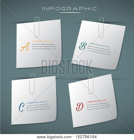 Note pad business design infographic.Can be used for business layout banner diagram statistic web design info chart brochure template. illustration education concept.