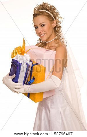 Happy bride with presents.Isolated on white background