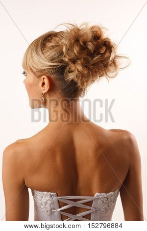 Brides modern professional hairstyle shooted from back