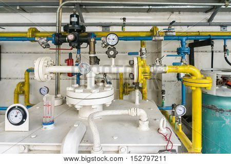 Pipe And Valve Of Lpg Gas Transplant At Lpg Gas Station