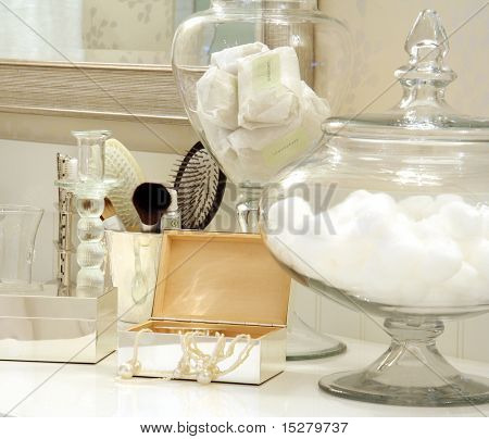 Bathroom objects on a beautiful counter.