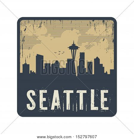Grunge vintage stamp with text Seattle vector illustration