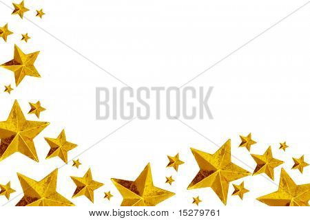 Golden Christmas stars, isolated on white.