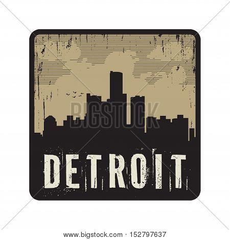 Grunge vintage stamp with text Detroit vector illustration