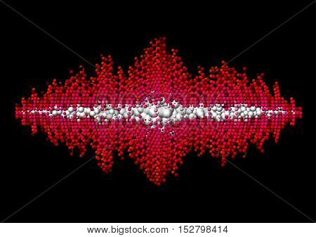 Sound waveform made of chaotic red balls
