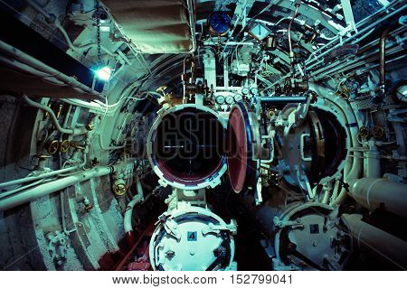 Detailed View Of Torpedo Room In Submarine