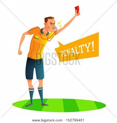 Cartoon soccer referee character design. Judge showing red card. Vector illustratio.