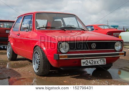 KRONSTADT, RUSSIA - SEPTEMBER 04, 2016: Red Volkswagen Golf first generation (1973 model year) at the exhibition and parade of vintage cars