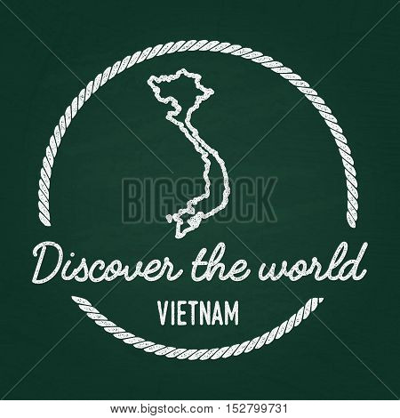 White Chalk Texture Hipster Insignia With Socialist Republic Of Vietnam Map On A Green Blackboard. G