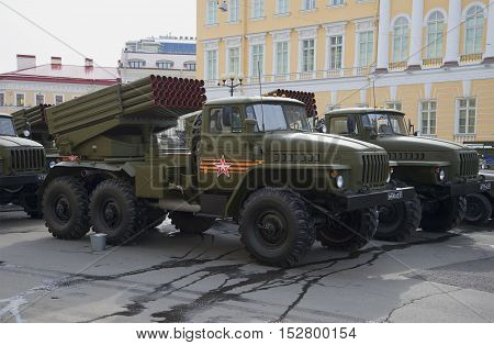 SAINT PETERSBURG, RUSSIA - MAY 05, 2015: Combat vehicle BM-21-1 (MLRS
