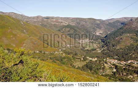 View of several small villages in the Peneda Mountains Northern Portugal