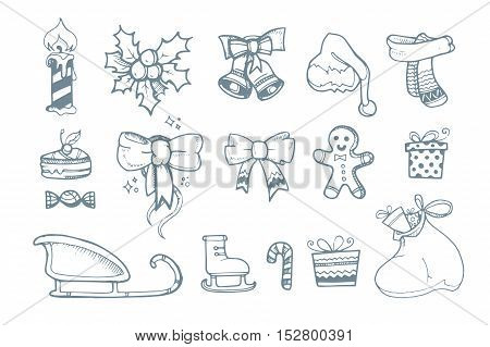 Vector illustration set of hand drown ellements for Christmas and New Year winter Holidays.
