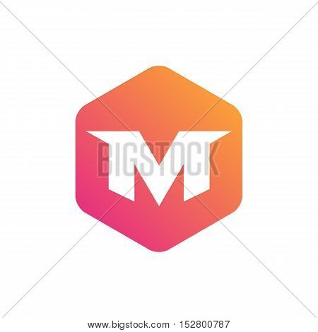 Creative initial M inside hexagon symbol illustration