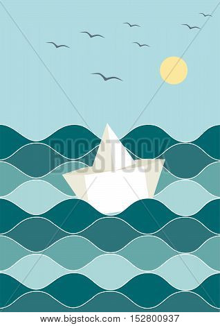 paper swimming ship in the blue sea
