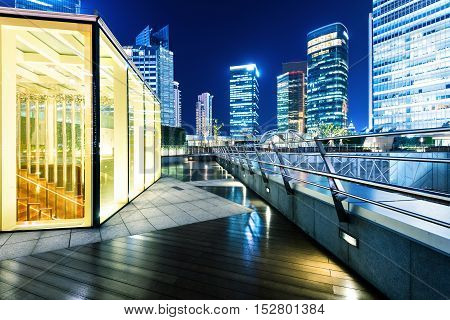 Night view of skyscrapers in Shanghai, China.