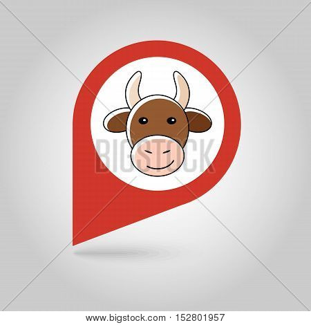Cow flat pin map icon. Map pointer. Map markers. Animal head vector illustration eps 10