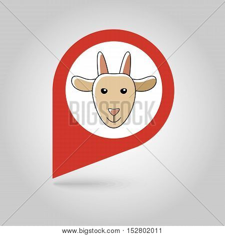 Goat flat pin map icon. Map pointer. Map markers. Animal head vector illustration eps 10