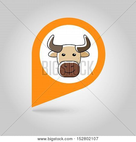 Bull flat pin map icon. Map pointer. Map markers. Animal head vector illustration eps 10