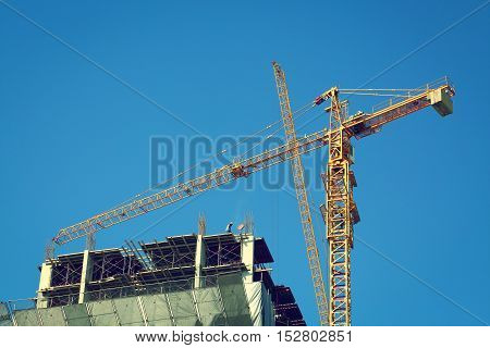 Construction Site Building Industry With Machinery Crane