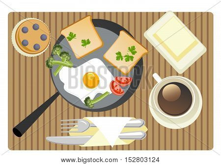 breakfast with egg bread butter cake broccoli parsley and coffee