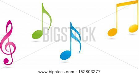 Music, musical key, colored, music notes and music logo