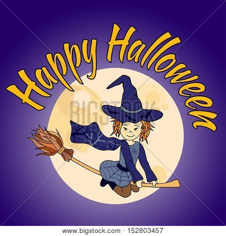 Cute little witch flying. Cartoon vector illustration with moon. Happy Halloween card