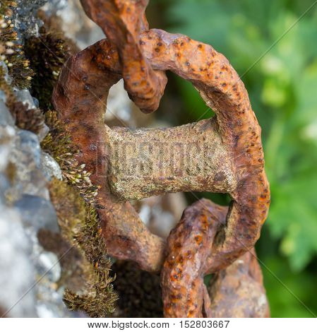 Old Chain With Rust, Steel Chain Link Fence