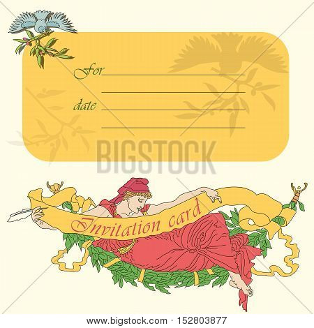 Vector vintage invitation card. Good for wedding events.