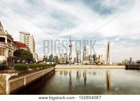 China Shanghai Lujiazui New Area and Huangpu River.
