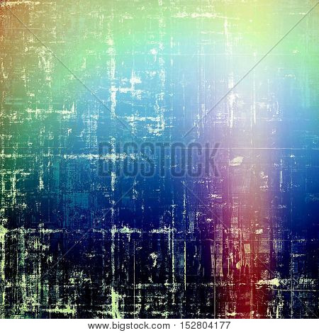 Scratched background with retro style overlay. Aged texture with different color patterns: yellow (beige); green; blue; red (orange); pink; cyan