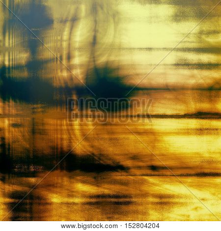 Damaged retro texture with grunge style elements and different color patterns: yellow (beige); brown; green; blue; red (orange); black