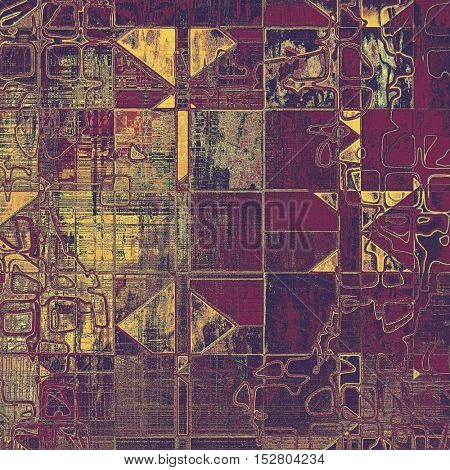 Geometric vintage style designed background, scratched grungy texture with different color patterns: yellow (beige); brown; gray; purple (violet); pink