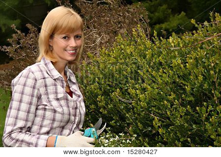 Happy woman gardener