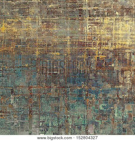 Grunge texture in ancient style, aged background with creative decor and different color patterns: yellow (beige); brown; gray; blue; cyan