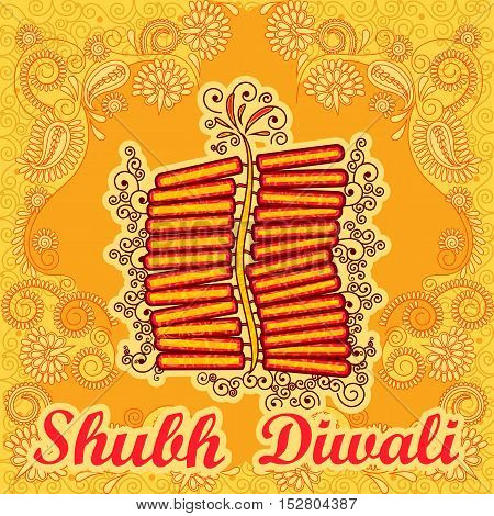 Vector design of Diwali decorated firecracker for light festival of India in Indian art style