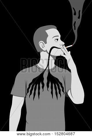 Smoking is hazardous to health - Vector illustration - EPS .
