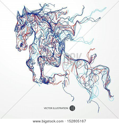 Running horse colored lines drawing vector illustration.