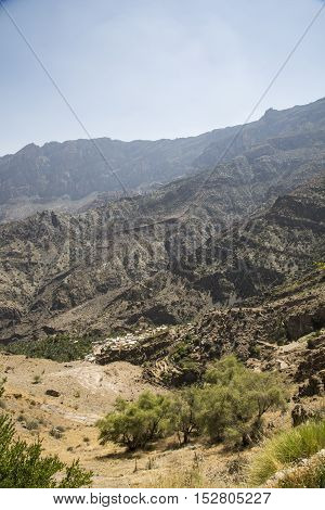 village in mountains of remote area of Oman
