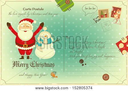 Vintage Postcard with Christmas and New Years Greeting. Backdrop of Postal Card for Winter Holiday. Santa Claus and Snowman. Vector Illustration.