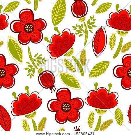 Cute pattern with red poppies, in a cartoon style. Vector illustration.