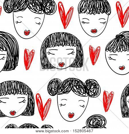 Cute pattern with girl faces with red lips and hearts. Vector illustration.