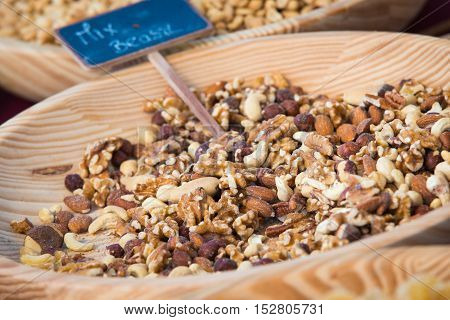 Varieties of nuts: kashew hazelnuts walnuts pistachio and pecans. Food and cuisine