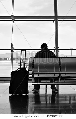 Commuter waiting for his flight