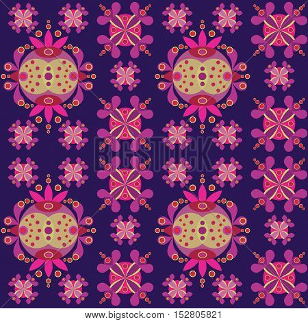 Ethnic ornament seamless pattern inspired by fusion of Ukrainian, Indian and Mexican traditional motifs, vector