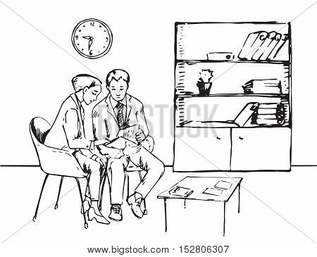 Man and woman working with documents in the office, Hand drawn vector illustration