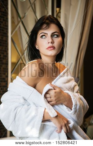 Girl In  Bathrobe